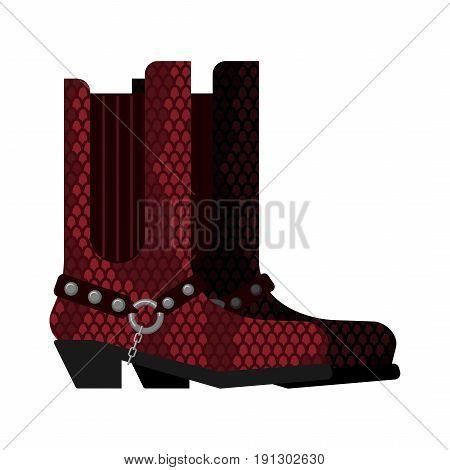Cowboy Boots Made Python Leather. Australia Shoes Made Crocodile Skin