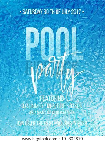 Pool party poster with blue water ripple and handwriting text. Vector illustration EPS10