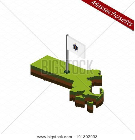 Massachusetts Isometric Map And Flag. Vector Illustration.