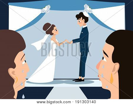 mothers crying at jewish wedding ceremony - funny vector cartoon
