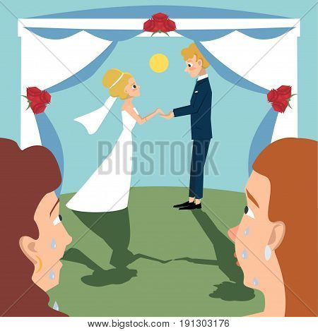 women weeping for happiness  watching marriage ceremony - funny vector cartoon illustration