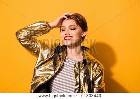 Portrait Of Fashionable Young Charming Happy Smiling Woman With Red Lips And Short Hair Standing Wit