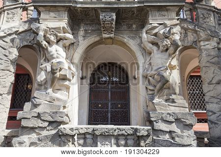 Troja Palace entrance. It is a Baroque palace located in Troja Prague's district. Built in the 17th century currently the palace is owned by the city of Prague