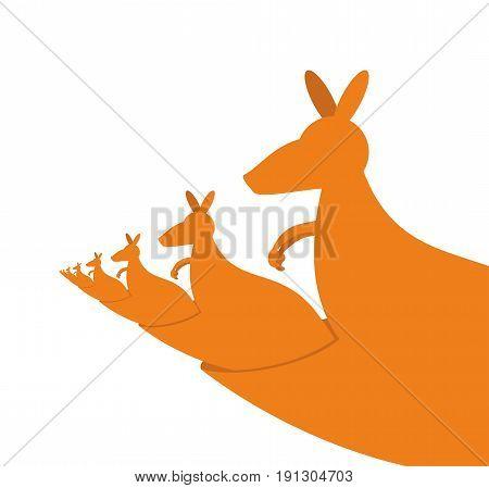 Kangaroo Recursion. Lot Of Australian Kangaroos Are Sitting In Their Pockets