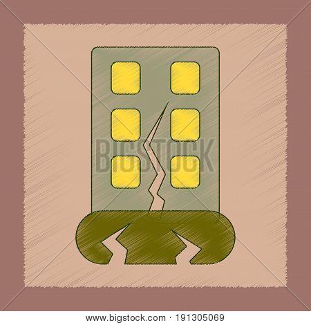 flat shading style icon of earthquake house