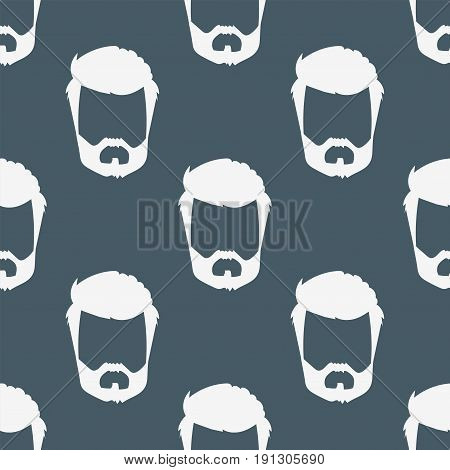 Vector seamless pattern hipster retro hair style mustache vintage old shave male facial beard haircut isolated illustration. Curly face collection fashion barber hairstyle design.