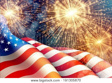 Fireworks background for 4th of July Independense Day with american flag. Vector illustration EPS10
