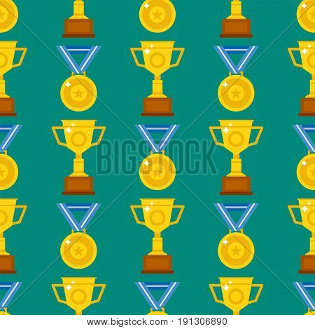 Seamless pattern with trophy and awards vector illustration. Medallion achievement minimalism sign prize shield background. Texture gold cup cover wrapping wallpaper.