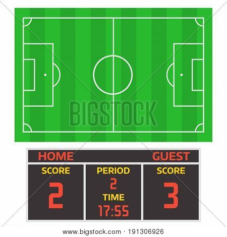 Football soccer field player trophy competition web game team score win play flat design sport vector illustration. Referee championship stadium tournament symbols.