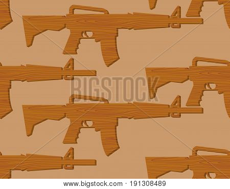 Wooden Gun Kids Pattern. Board Weapons Background. Childrens Military Toy