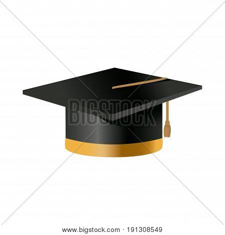 black cap for a costume graduate on white background