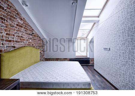 Interior design bedrooms.Modern apartment interior in loft style.