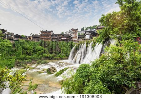 scenery Chinese minority village best known in the movie Furongzhen in Huna province China