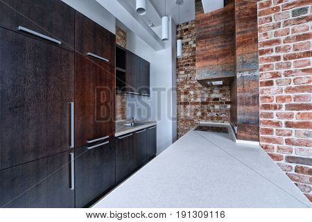 Modern apartment interior in loft style. The interior of the kitchen.