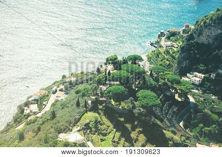 Scenic toned picture- postcard view of the mountains of the Amalfi Coast Ravello Italy.