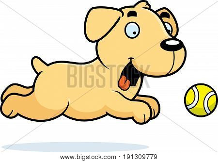 Cartoon Labrador Chasing Ball