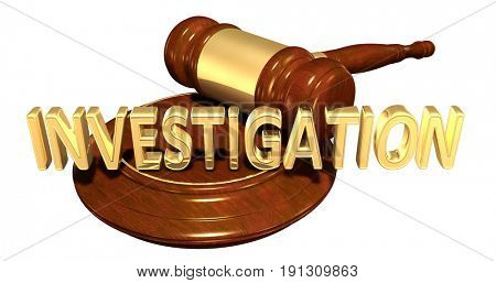 Investigation Law Concept 3D Illustration