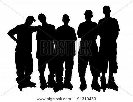 Young people group in roller skates. Isolated white background. EPS file available.