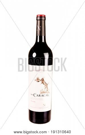 Colbert, WA - April 23, 2017: Bottle of The Caracal, a South African red wine blend from the Stellenbosch region using a traditional blend - isolated on white - illustrative editorial