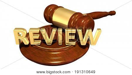 Review Law Concept 3D Illustration