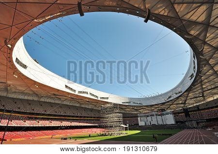 Beijing, China - September 21, 2009: Interior Of Beijing National Olympic Stadium Also Known As Bird