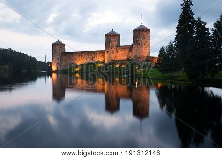 August's cloudy evening at the fortress of Olavinlinna. Savonlinna, Finland