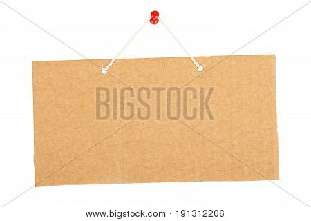 hung cardboard sign isolated on white background