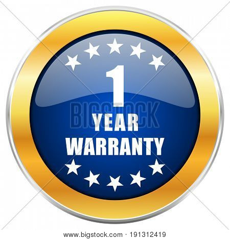 Warranty guarantee 1 year blue web icon with golden chrome metallic border isolated on white background for web and mobile apps designers.