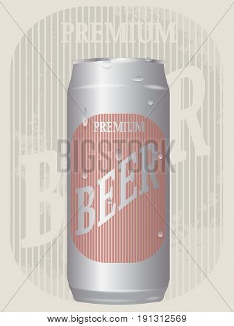 vector illustration of realistic beer can 500 ml on the background of a vintage advertising poster in grunge style