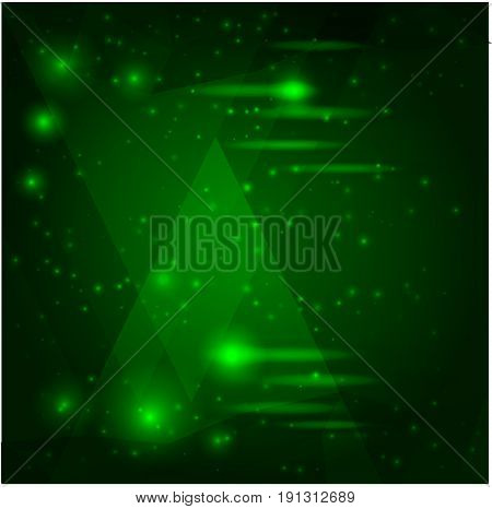 vector space image - geometric forms with flashes of light on green background. ready vector illustration for any kind of adv.