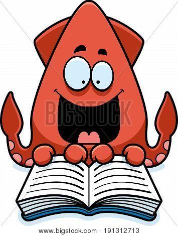 Cartoon Squid Reading