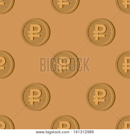 Wooden Russian Ruble Coin Pattern. National Russia Money Logo. Cash Symbol Background