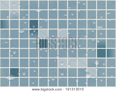 vector background image tiles of small squares in the water droplets. blue bathroom or swimming pool and sauna