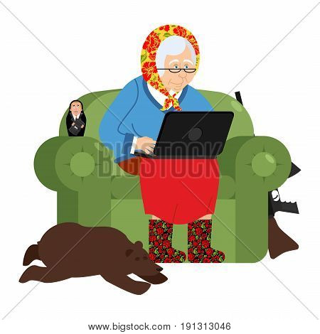 Russian Hacker Grandmother And Laptop. Old Woman In An Armchair With Bear. Grandma From Russia In Fe