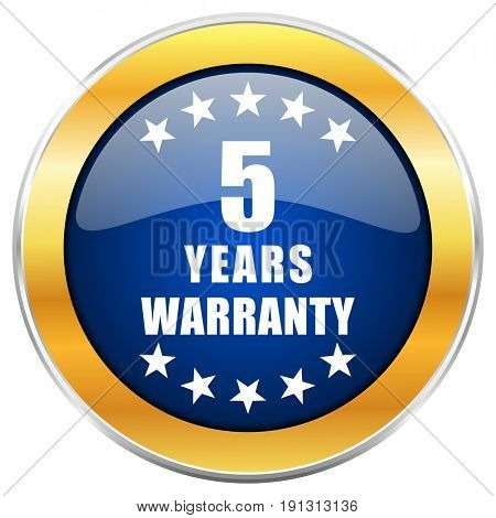 Warranty guarantee 5 year blue web icon with golden chrome metallic border isolated on white background for web and mobile apps designers.