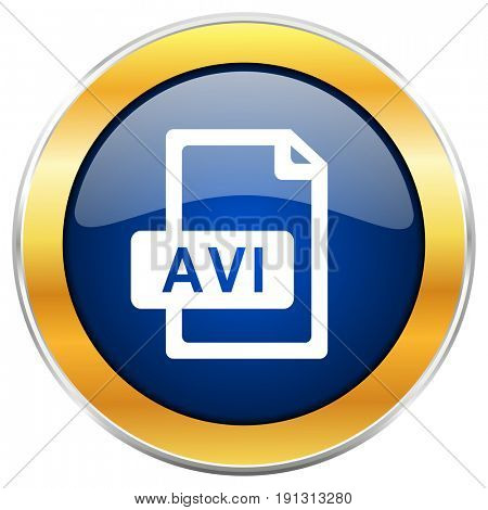 Avi file blue web icon with golden chrome metallic border isolated on white background for web and mobile apps designers.
