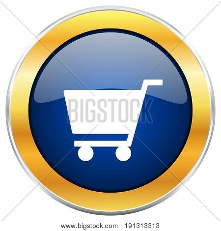 Cart blue web icon with golden chrome metallic border isolated on white background for web and mobile apps designers.