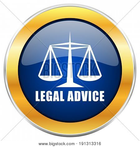 Legal advice blue web icon with golden chrome metallic border isolated on white background for web and mobile apps designers.