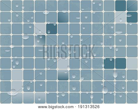 vector background image tiles of small squares with rounded corners a drop of water. blue bathroom or swimming pool and sauna.