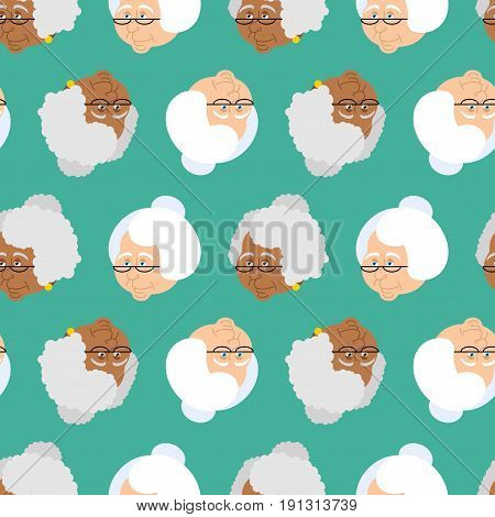 Grandmother Portrait Pattern. Old Woman Face Seamless Texture. Crone Jrnament. Gammer With Glasses B