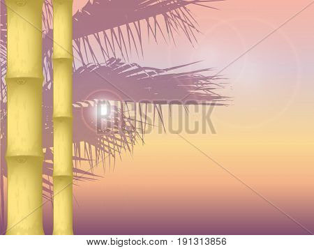vector illustration of sunset on the sea background in orange colors. the texture of the bamboo in the foreground. silhouette of palm trees in the background. the sun is shining