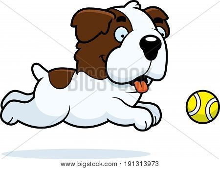 Cartoon Saint Bernard Chasing Ball