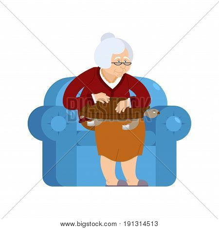 Grandmother And Turtle Pet Sitting On Chair. Grandma And Tortoise. Old Woman And Animal Amphibian. G