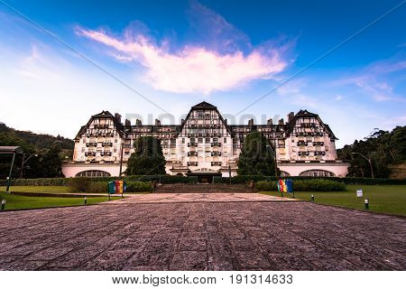 Petropolis, Brazil - May 25, 2017: Quitandinha Palace in the imperial city once used to be a casino, but was closed down and is now open to visitors as historical and cultural heritage.