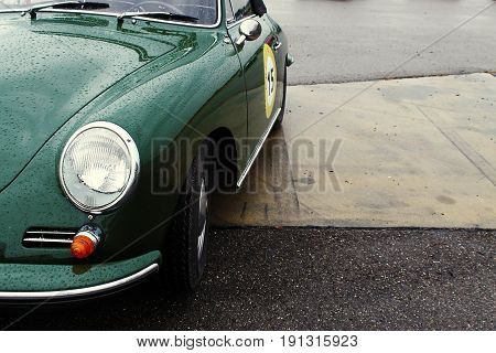RADOLFZELL AM BODENSEE, GERMANY -  SEP 28: Vintage sportscar in green at a car rally September 28, 2012, Lake Constance region.