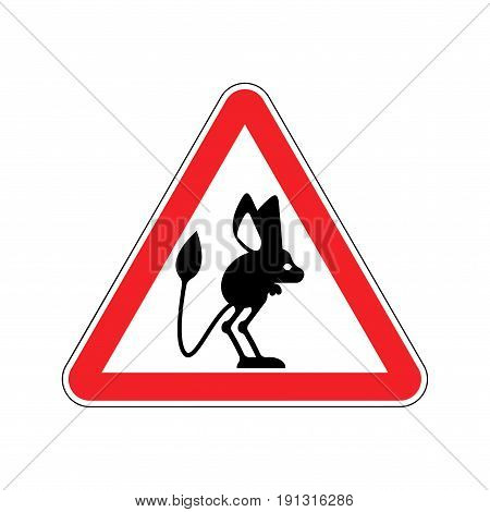 Attention Jerboa. Caution Steppe Animal. Red Triangle Road Sign