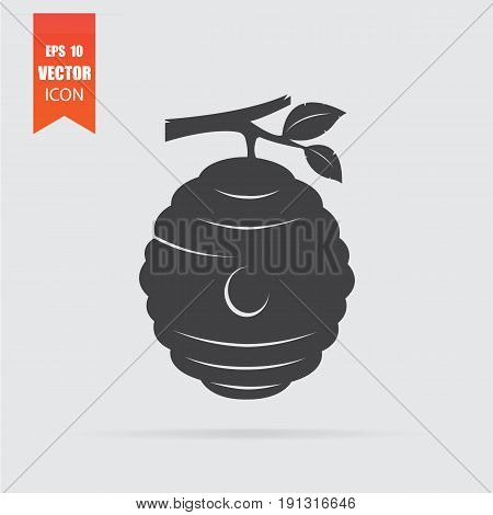 Beehive Icon In Flat Style Isolated On Grey Background.