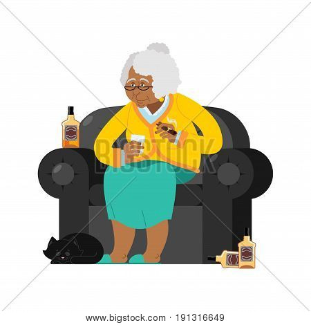 African American Grandmother Drinks Alcohol Smoke Cigar. Old Woman In An Armchair With Bottle Whiske