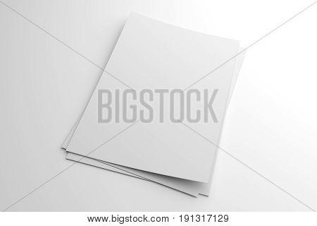 Blank 3D illustration stack of flyer or leaflet mockup on white to place your design.