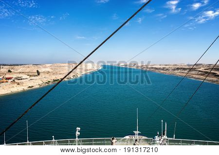 The Suez Canal - a ship drives in the new eastern extension canal opend in August 2015